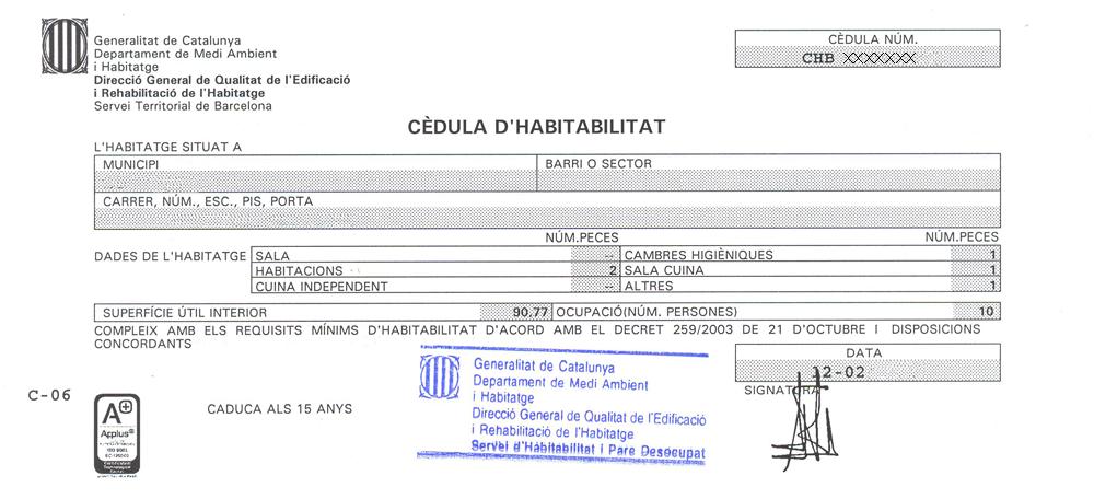 CEDULA HABITABILIDAD | Lofts Barcelona